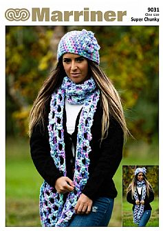 9031 Scarf and flower beanie crochet pattern in Super Chunky
