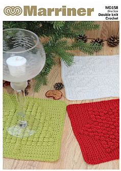 MD158 Christmas Bobble Stitch Washcloths Crochet pattern