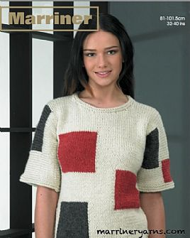 35730 Square Block Tunic in Marriner Chunky