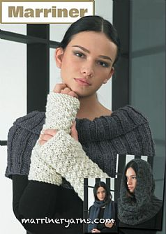 35733 Scarf Wrist Warmers Neck Warmer Hooded Cowl in Chunky