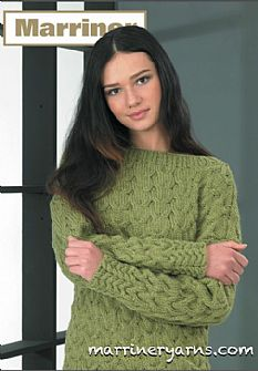 35732 Tulip Cable Sweater in Marriner Chunky