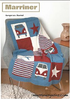 35739 Campervan Blanket and Cushion in Marriner DK