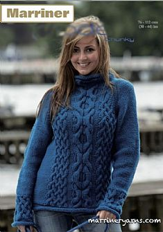 35406 Cabled Sweater in Marriner Chunky