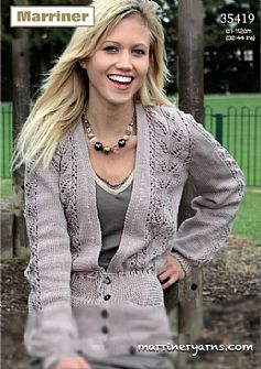 35419 Ladies Cardigan in Marriner DK