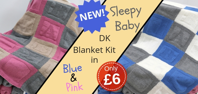 Marriner Yarns | NEW Sleepy Baby Double Knit Blanket Kits in Blue and Pink | Still only �6