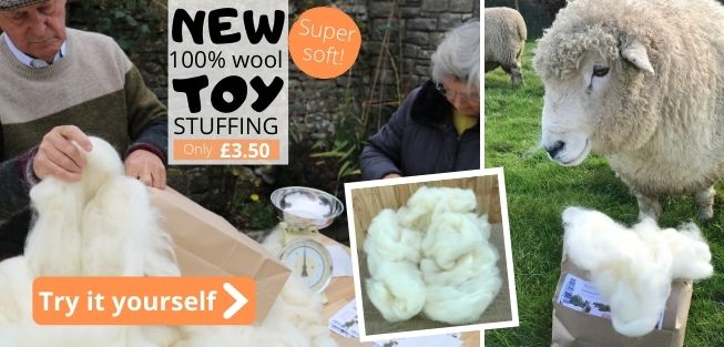 New 100% wool toy stuffing from our own Romney sheep