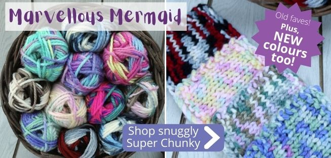 Old favourites and NEW colours are here in our Mermaid Super Chunky yarn