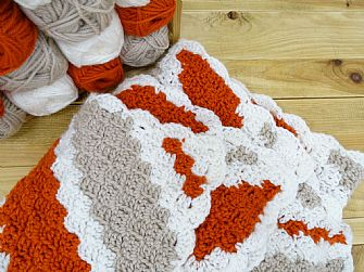 Diagonal Stripe Crochet Chunky Blanket Kit