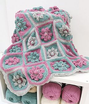 Flower Garden Crochet Aran Blanket Kit
