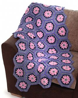 Hexagon Flower crochet Double Knit blanket kit