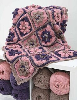 NEW - Flower Garden Crochet Aran Blanket Kit