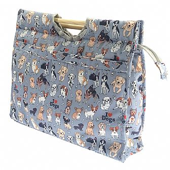 Marriner Yarns Dogs Wooden Handle Craft Bag